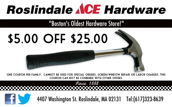 $5 off $25 at Roslindale Hardware